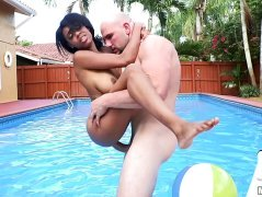 Catching Brittany White topless and sticking a cock in her muff