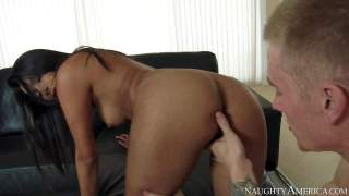 Raven haired sexy Miya Stone with beautiful shaved pussy and