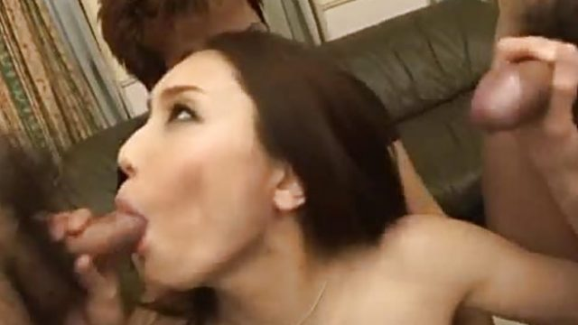 Asian brunette slobbers over these hard dicks