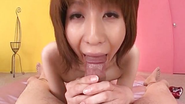 Asian brunette sucking cock