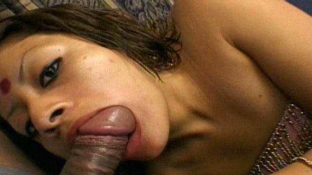 Beautiful Indian girl Indra sucking a big hairy dick with lust