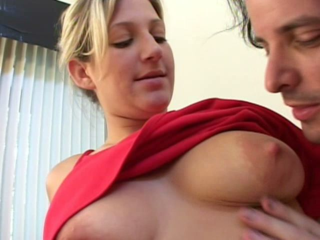 Big titted blond amateur Stacy gets pussy fingered through red panties