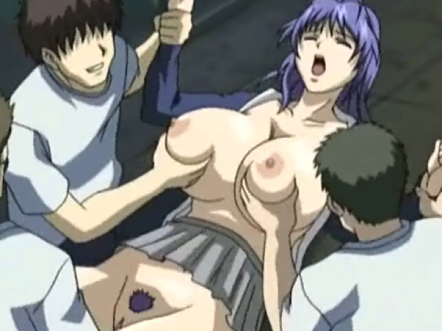 Blue haired hentai girl with big tits gets pussy and mouth fucked by three monster cocks