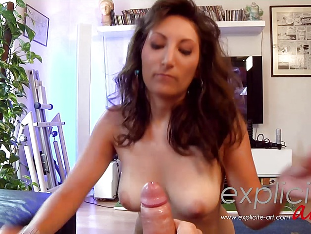 Busty French girl giving head