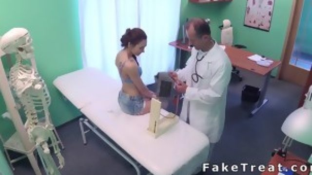 Checked patient gets hard cock from doctor