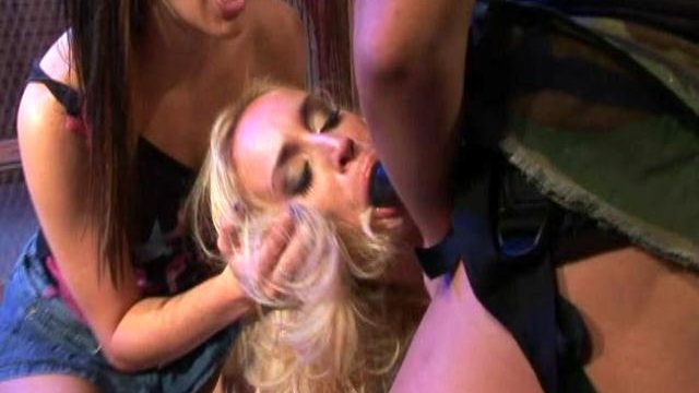 Chick gets punished with strapon by mistresses Holly Wellin, Cindy Crawford And Deja Daire