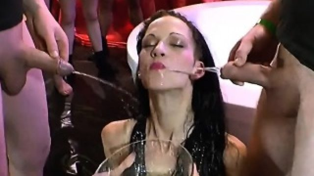 Euro Slut Brunette Golden Shower Sucking Cock Riding