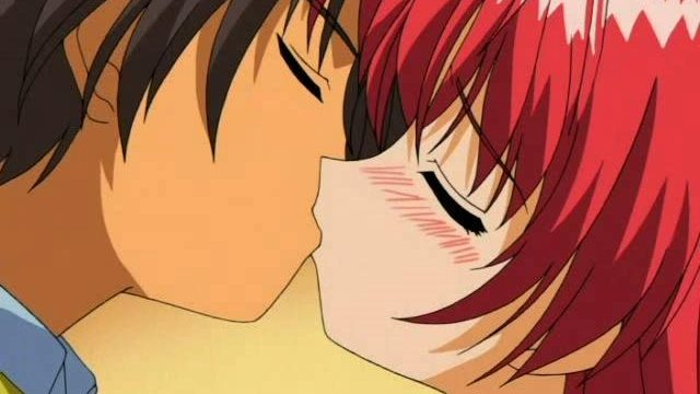 Fiery red haired anime girl making love with her boyfriend