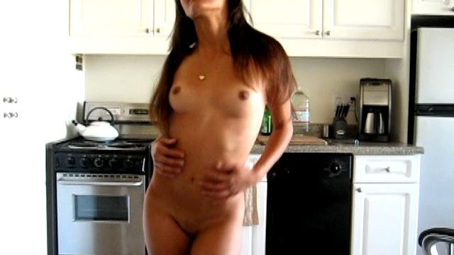 Knockout brunette exgirlfriend nymph Kaylani stripping and showing her hot assets in the kitchen