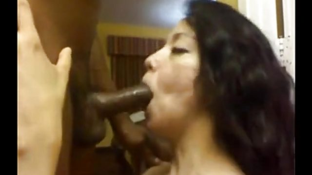 Latina throat fucks this hard cock