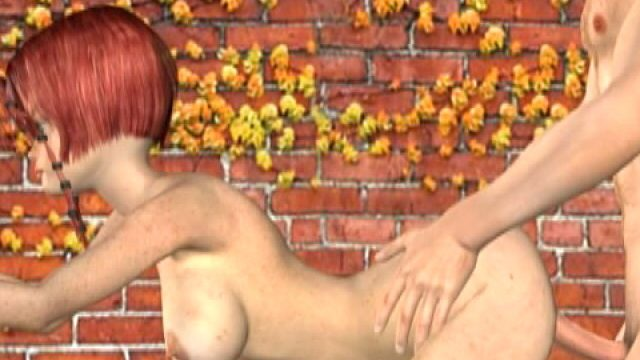 Lustful redheaded 3D girlfriend with large tits Misty gets banged doggy at the wall