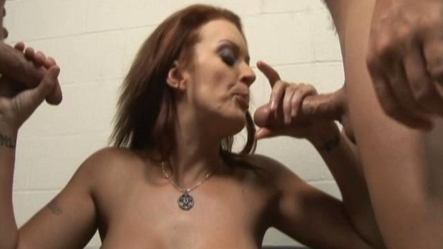 Monica Mayhem helps these two rock hard dicks cum