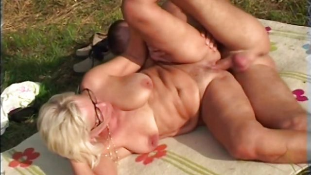 Nasty granny fucked outdoors