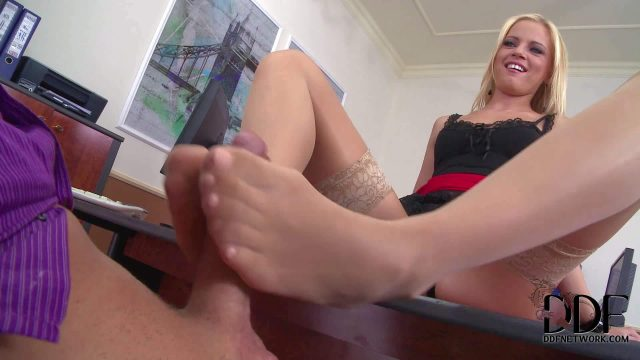 Playful leggy secretary in short red skit and sheer nylon