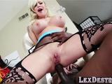 Squirter and petite Vyxen gets hammered behind by Lexington Steele