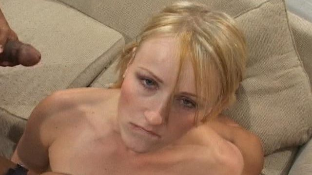 Superb blondie slut Sharon gets pounded by two immense schlongs