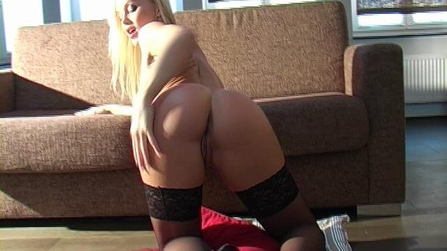 Sweet blonde pornstar in stockings Silvia Saint teasing us with her round arse