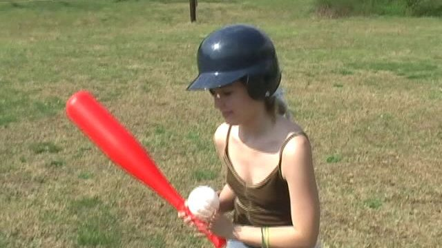 Sweety teen babe Kitty Kim playing baseball and getting nasty