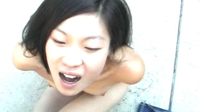 Trashy asian amateur honey Leandra Lee fucking a large dick with her tits outdoors