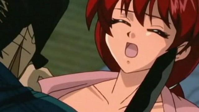 Busty redhead anime babe gets banged by a massive schlong