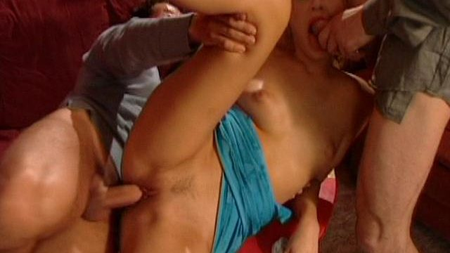 Delicious European blonde whore getting penetrated by two huge shafts