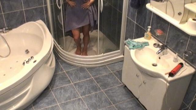 Gorgeous young voyeur nymphet Lilia naked at the shower