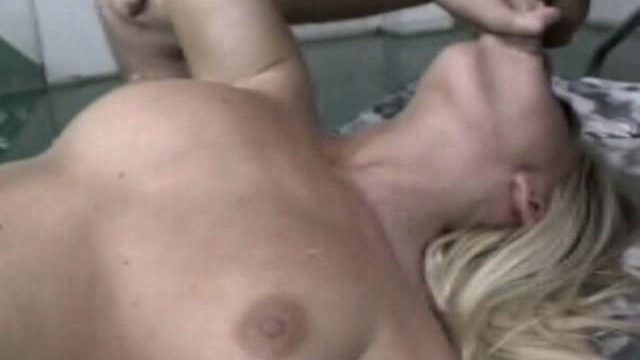 Ravishing blonde babe Bobbi Eden giving blowjob and rubbing her fuckable snatch