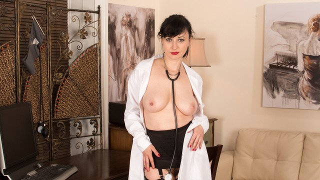 Voluptuous nurse with big