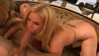 Pretty Blonde Woman Sucking Long Dick And Riding It