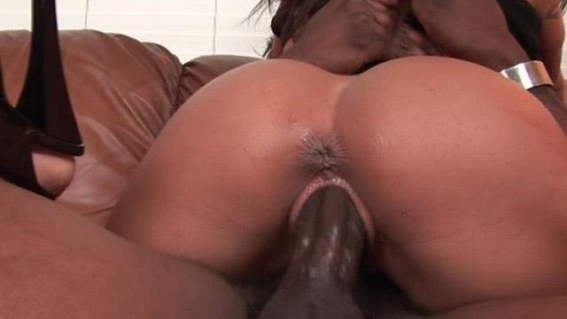 Cutie pornstar Jenaveve Jolie riding a monster black dick on the couch