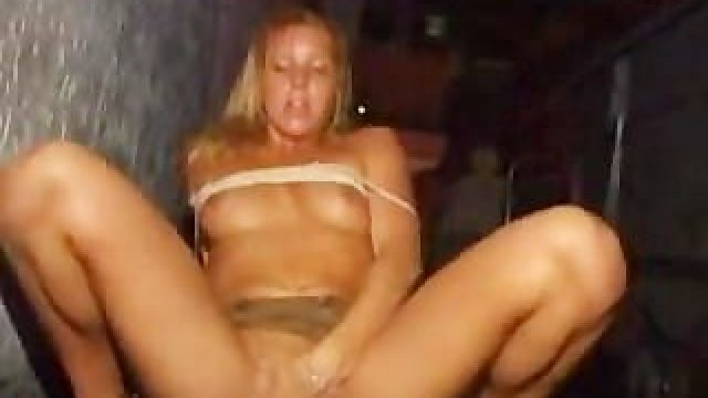 Drunk Girl Fingers Herself in Club
