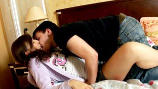 Pigtailed brunette teen angel Lina making love with her young boyfriend