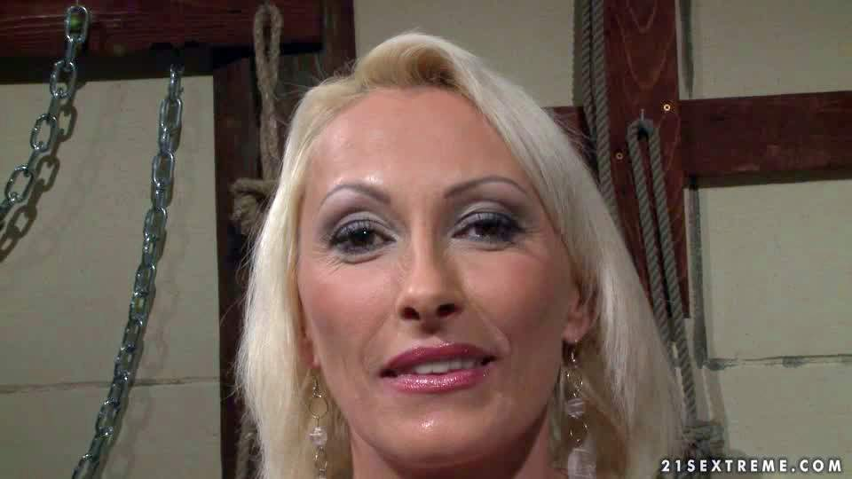 Blonde and horny mature pornstar enjoys in getting all tied