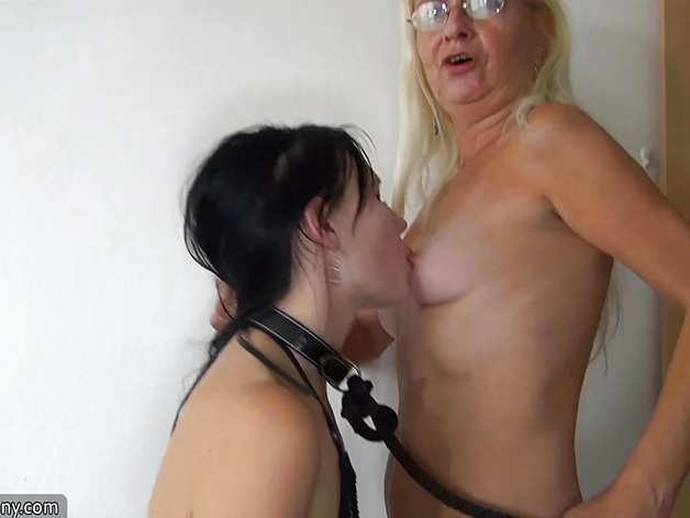 Blonde Granny and Teen enjoy Lesbian fun