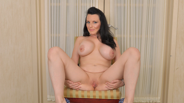 Brunette mommy plays with
