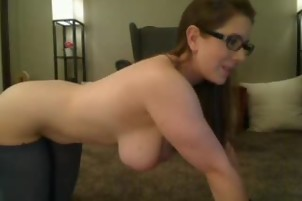 Busty with glasses and nice body masturbates with a vibrator
