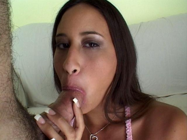 Excited latina trollop Dakota slurping a massive schlong on her knees