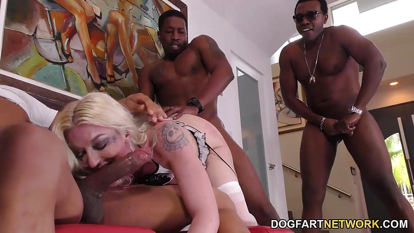 Leya Falcon Interracial Gangbang