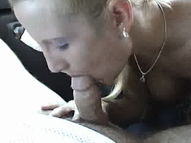 Slutty blonde amateur nymphet sucking a hard penis with lust in the car