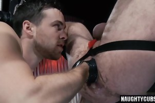 Tattoo jock fisting with cumshot