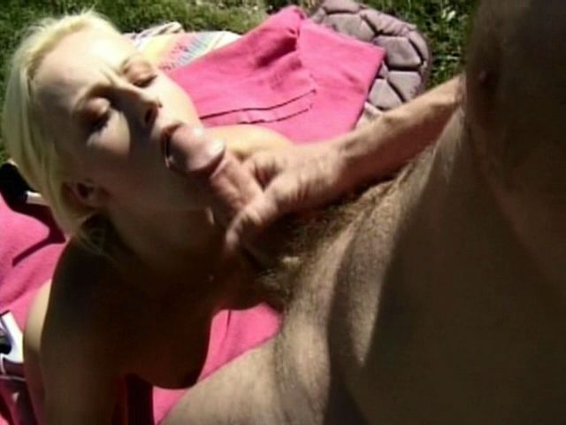 Wild blonde amateur nymphet Sharon Wild gets mouth smashed by a thick penis outdoors