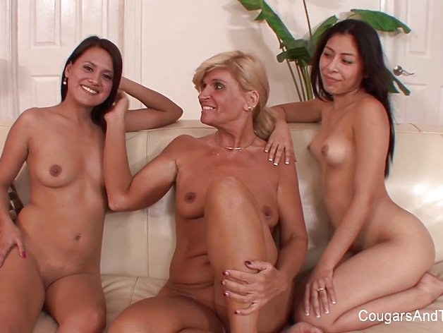 Blonde MILF and her stepdaughter seducing the maid