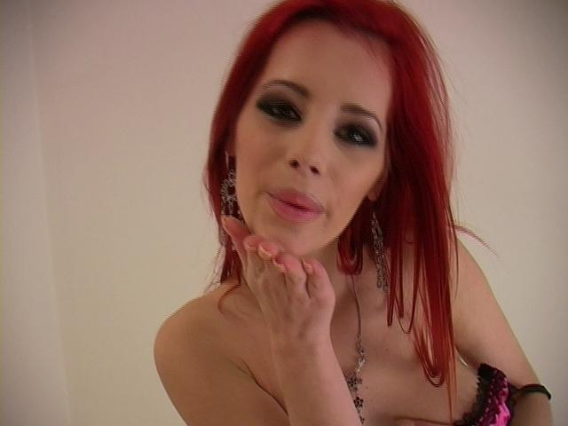 Fiery redheaded pornstar Ariel stripping sexy corset and playing with her divine breasts