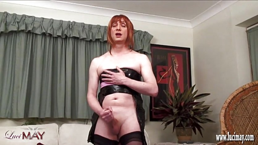 Kinky TGirl wrapped and bound then wanks off and cums