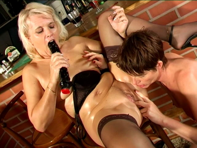 Naughty lesbian granny Marketa gets pussy licked and dildoed by mature Leona