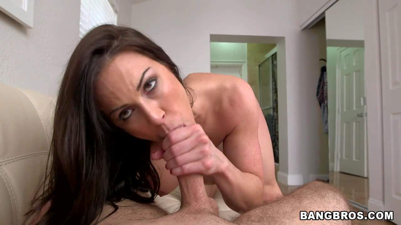 Heavy chested Kendra gives head on the bed