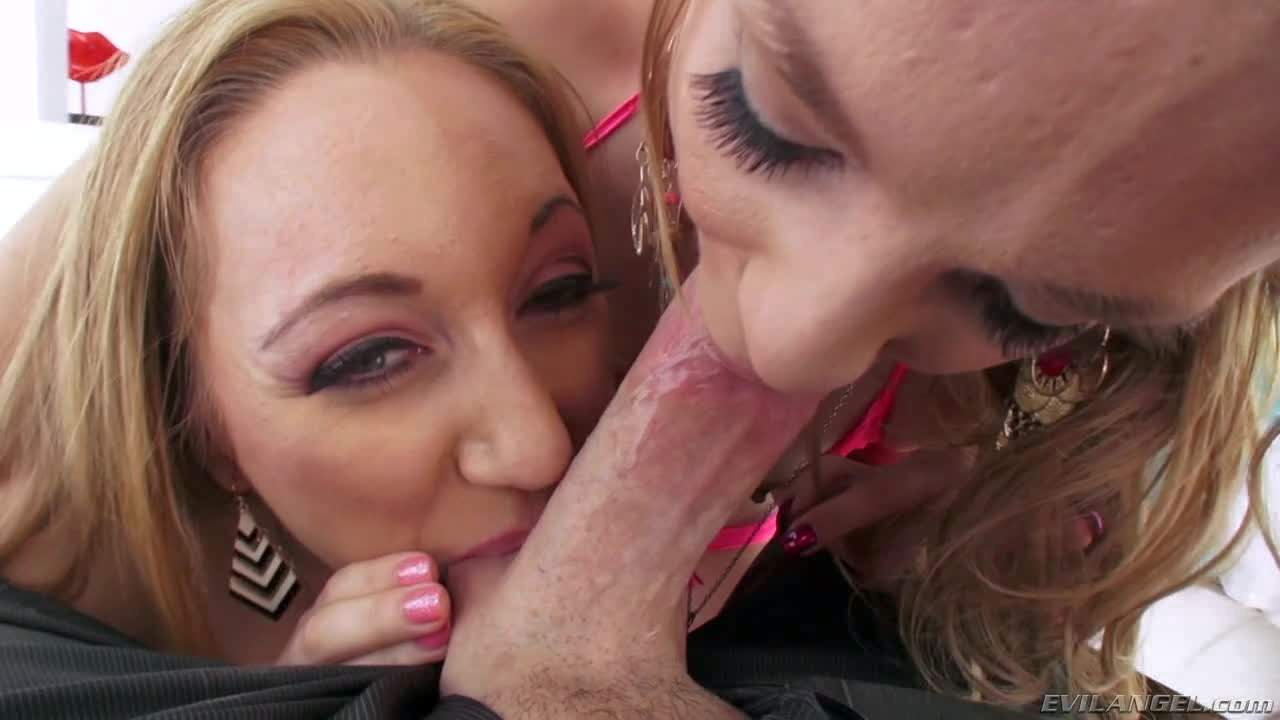 Becky Lynn and Emma Haize are the cock suckers