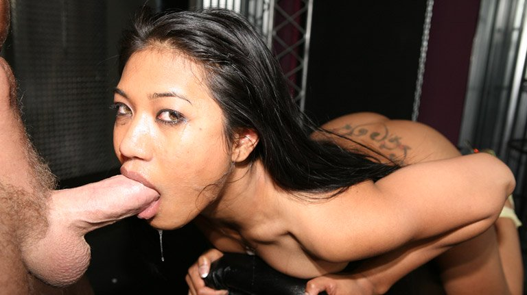 Lyla Lei deep throats a thick and huge cock