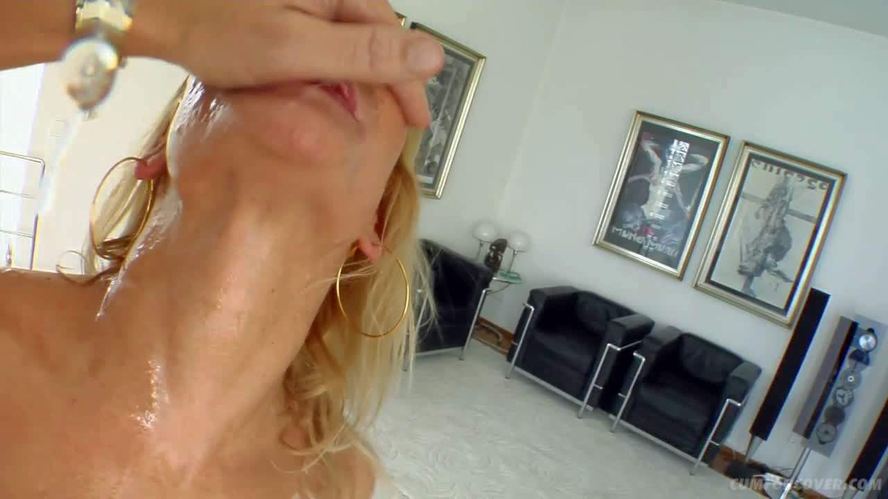 Busty blonde whore has rough gang bang